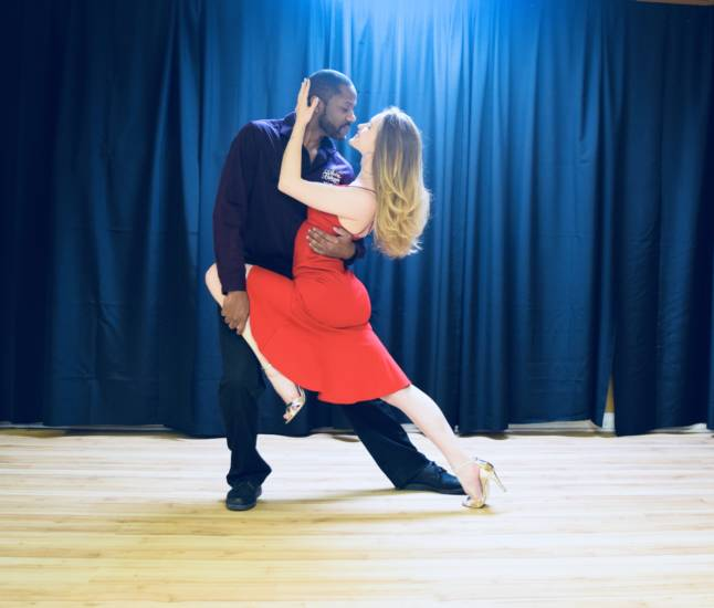 access ballroom gil bynoe and valeria mazlova dancing tango couple dance ballroom choreographer and dance teacher toronto